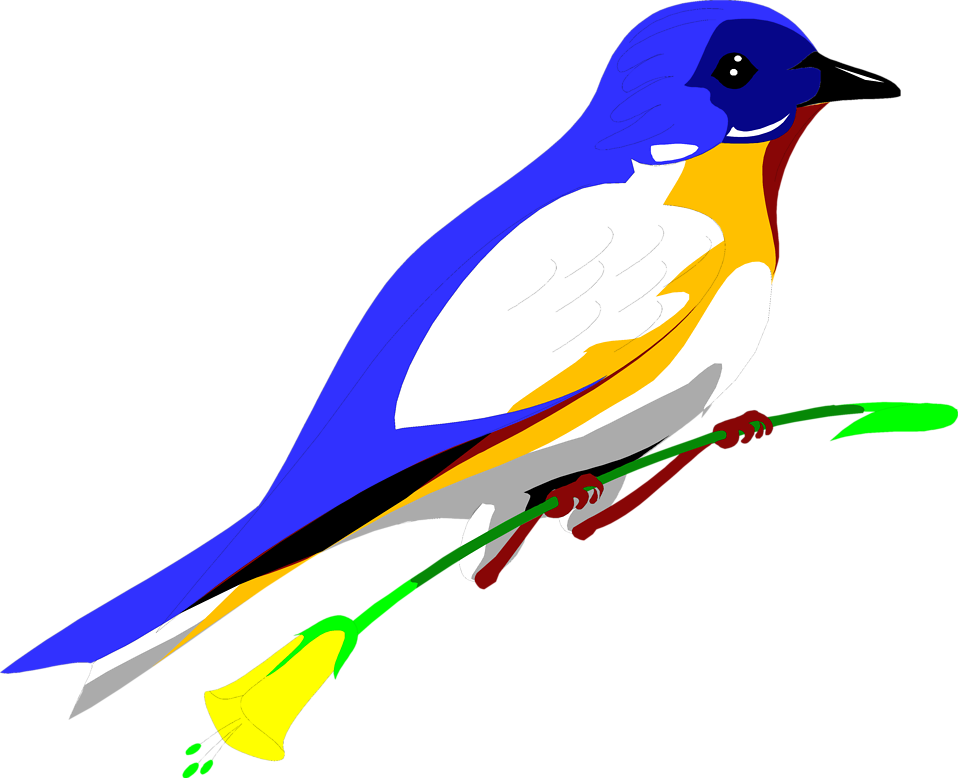 Blue Flower clipart bird A : perched Stock blue