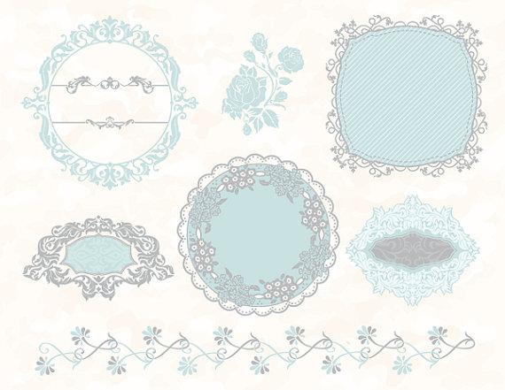 Blue Flower clipart blue wedding border Wedding Embellishment Blue Grey Blue