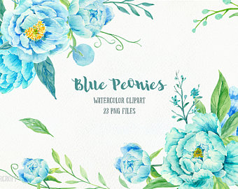 Blue Flower clipart decorative Peony for instant blue peonies