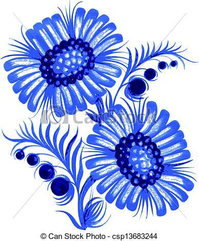 Blue Flower clipart drawing Drawn hand Vector flower blue