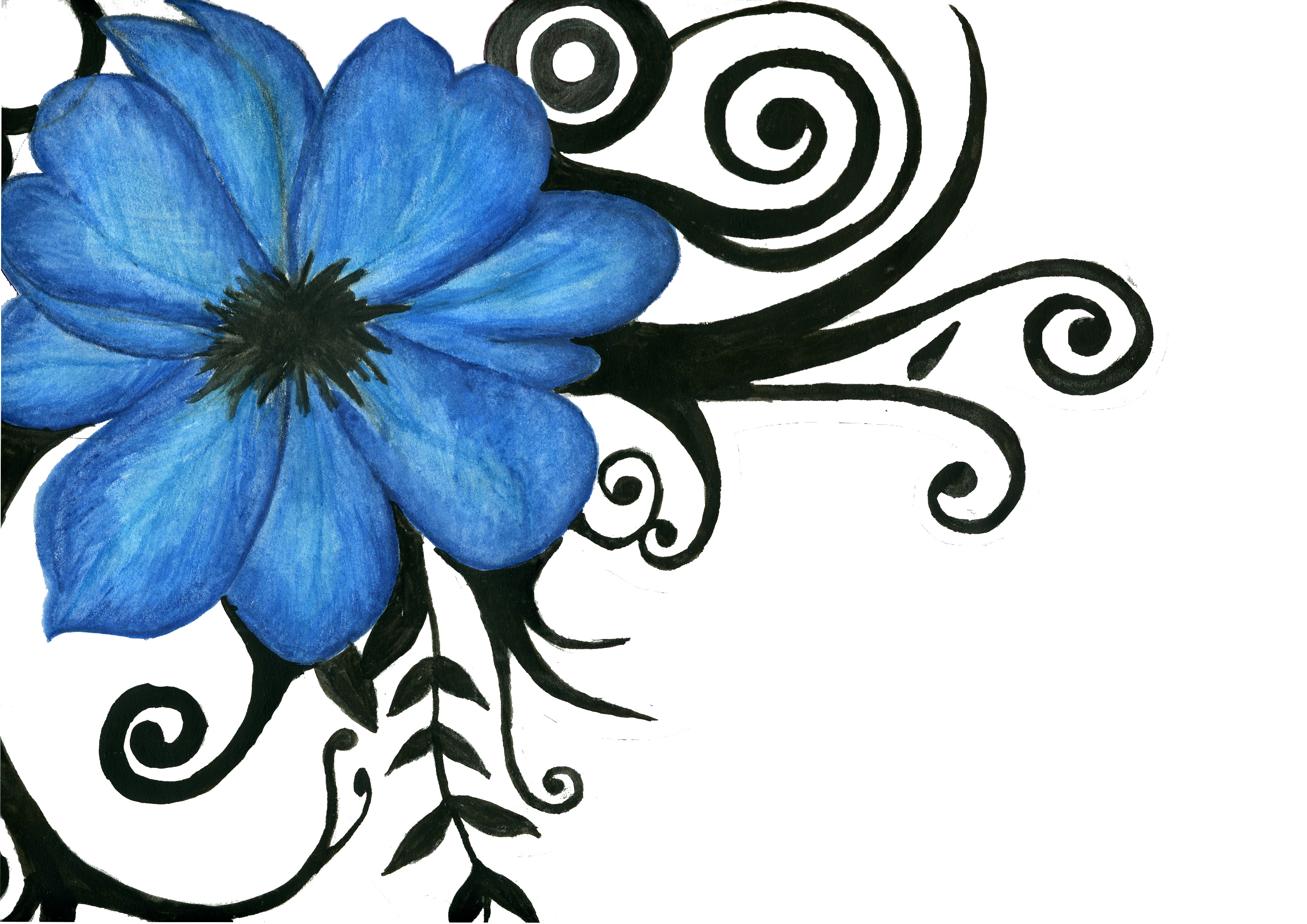 Blue Flower clipart drawing Free Designs  Flowers Tattoo