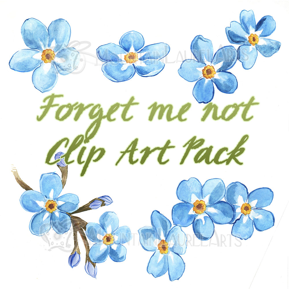 Blue Flower clipart teal flower Instant Watercolor Forget Painting download