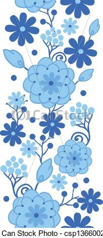 Blue Flower clipart horizontal flower border Holland Vector flowers border Illustration