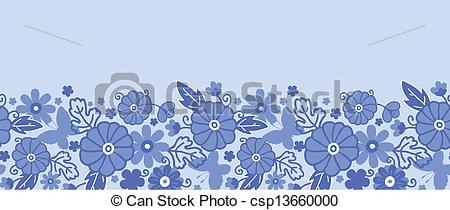 Blue Flower clipart horizontal flower border Dutch Vector flowers border Clipart
