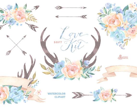 Blue Flower clipart love Diy card  arrows flowers