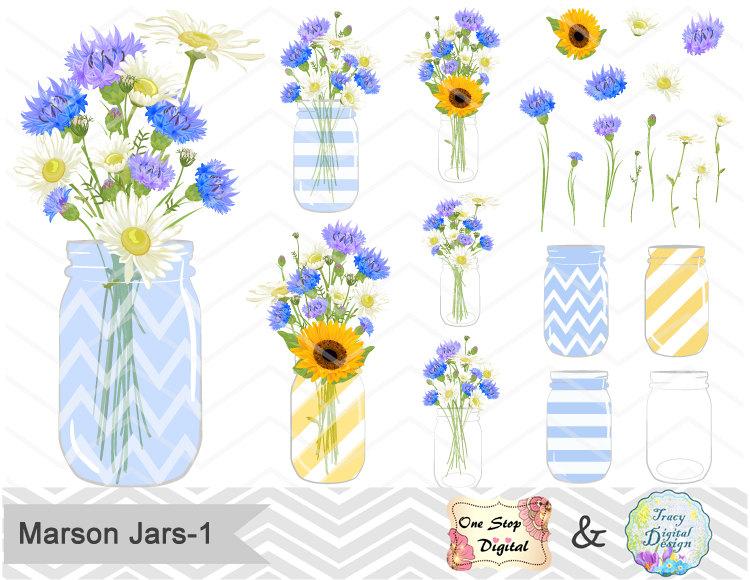 Wildflower clipart yellow flower Clip Digital Blue Blue Flower