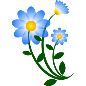 Blue Flower clipart tall flower Flower Motif 2 Flowers Blue
