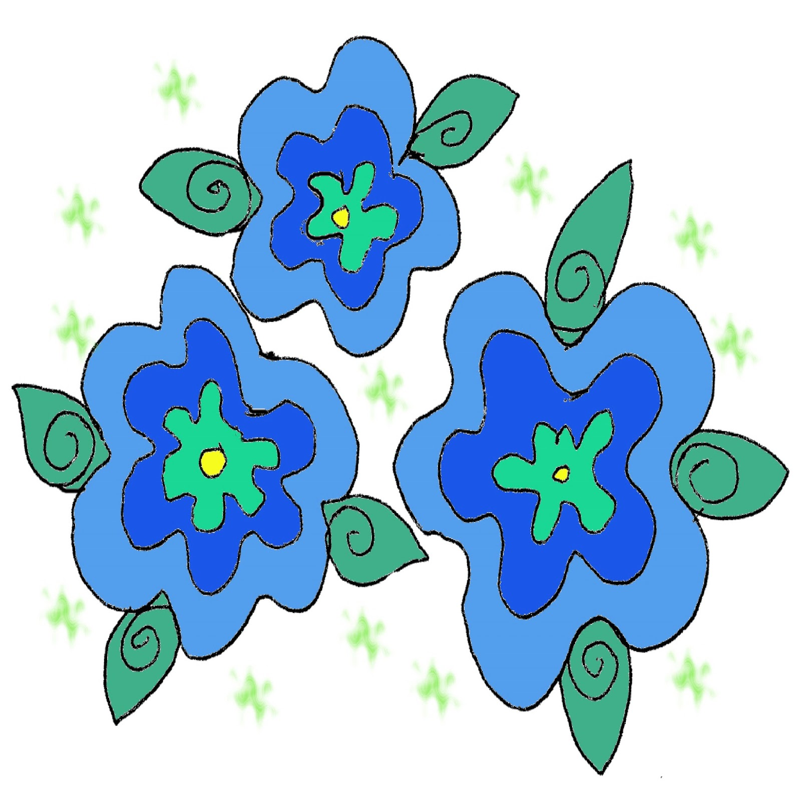 Blue Flower clipart three flower Blue and Inspiration Cliparts Flowers