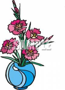 Blue Flower clipart vase Vase Blue Pink Dianthus a
