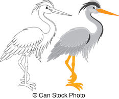 Heron clipart Black and and and outline
