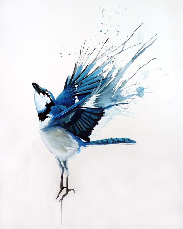 Blue Jay clipart bird face Gouache on