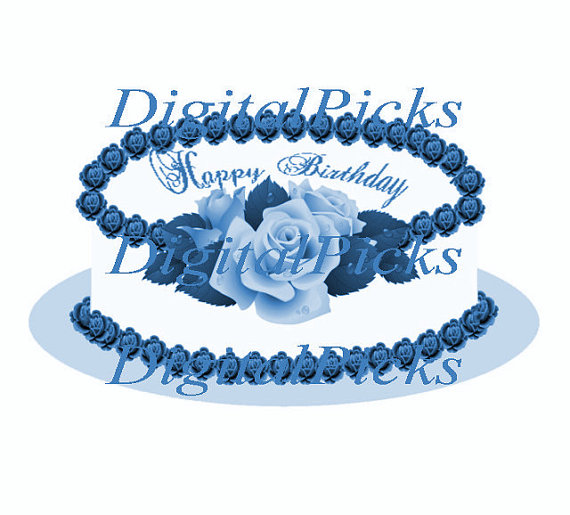 Blue Rose clipart rainforest flower Happy Etsy Digital PNG from