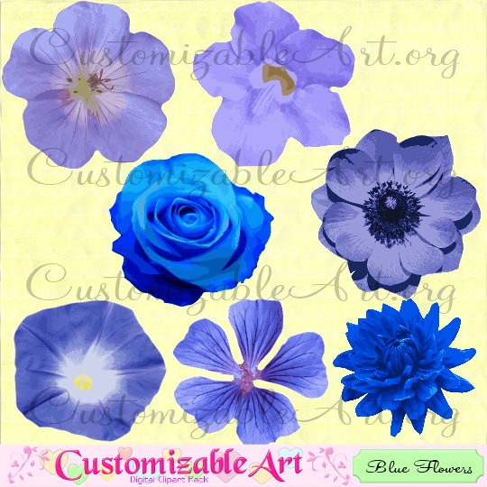 Blue Flower clipart anemone flower Item? Blue Art Blue Floral