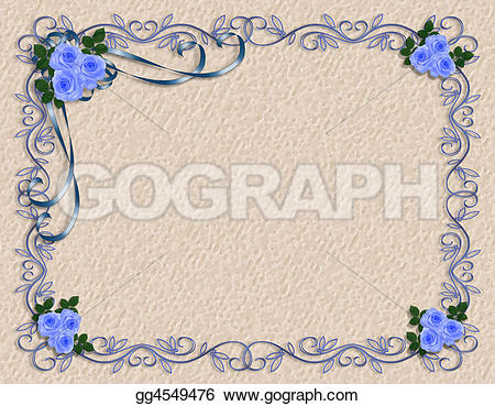 Blue Rose clipart ribbon With or frame space wedding