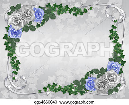 Blue Rose clipart ribbon With or invitation ribbons invitation
