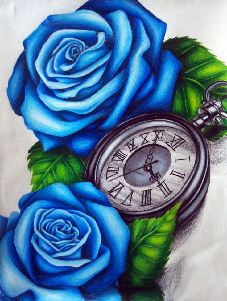 Blue Rose clipart side By on ideas Clock tattoo