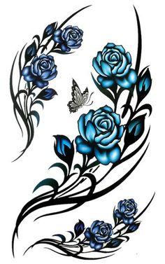 Blue Rose clipart side Rose tattoo blue  Google