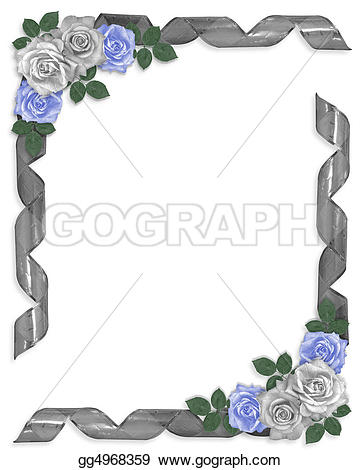 Blue Rose clipart valentine rose Roses border floral ribbons Stock