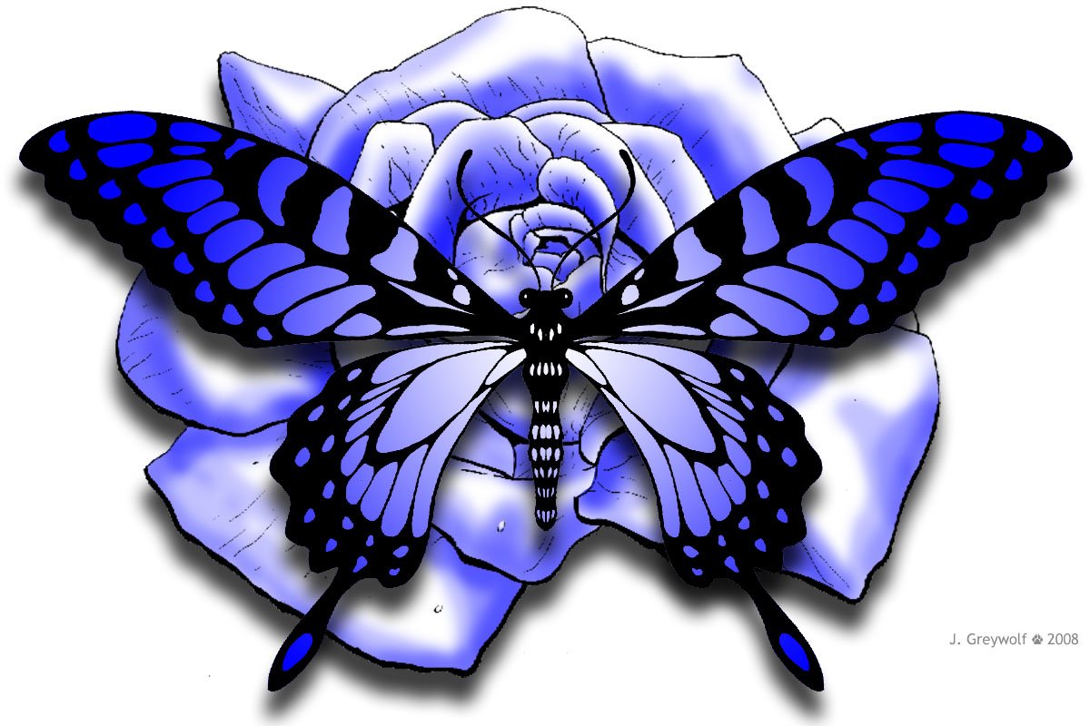 Blue Rose clipart side Blue and Day Miscellaneous Butterfly