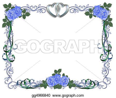 Blue Flower clipart blue wedding border Party or Illustration invitation Illustration