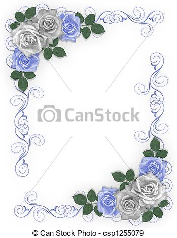 Blue Rose clipart colorful flying butterfly 3D of white Roses Border