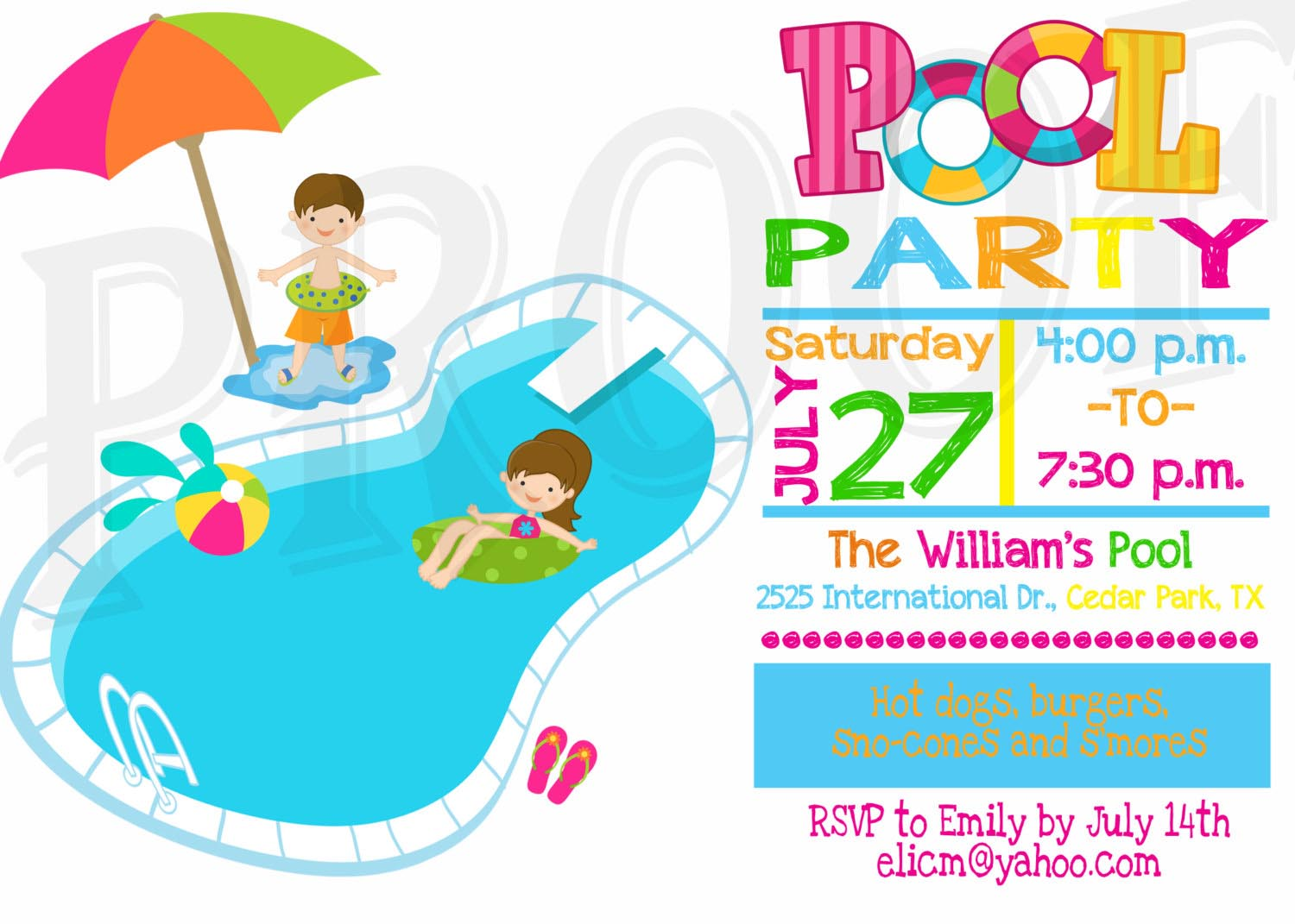 Blue Water clipart pool party Party Kid Invitation Party Pinterest