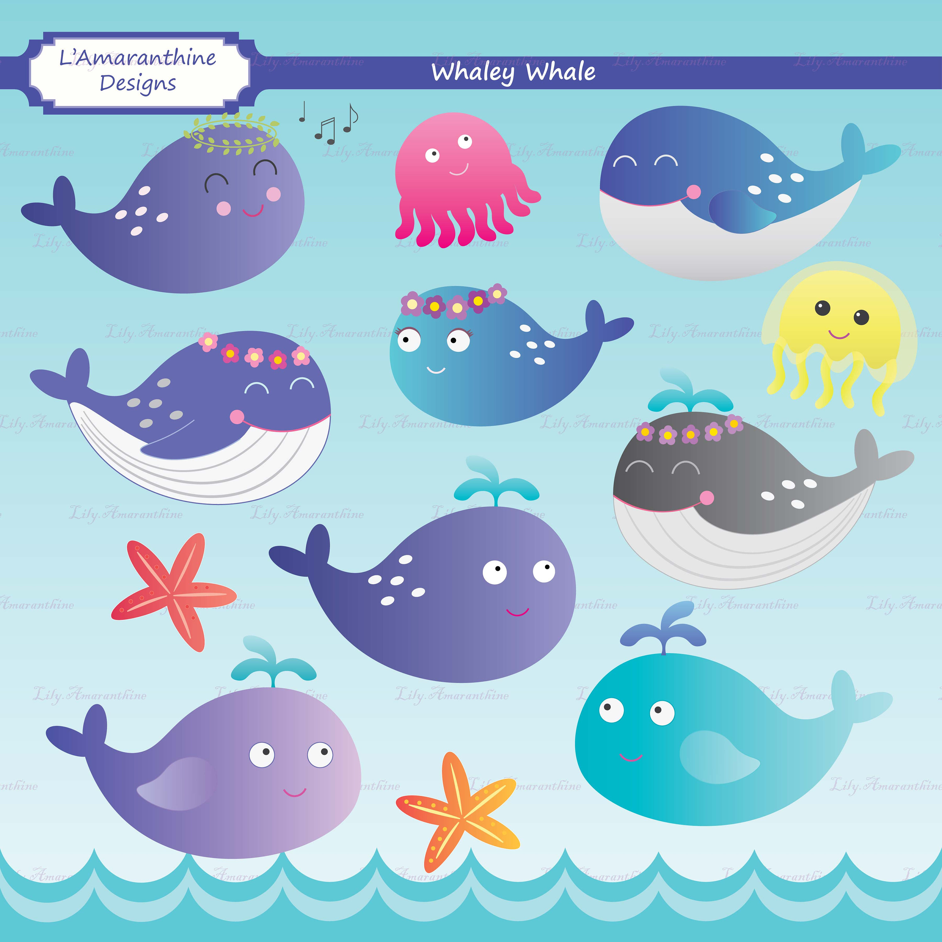 Blue Whale clipart blue starfish  Whaley Underwater a Sea