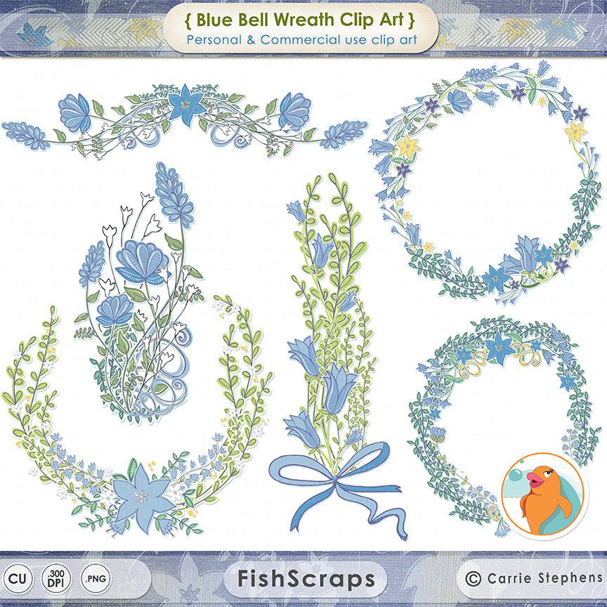 Bluebell clipart border Wreath Frames  Blue Clip