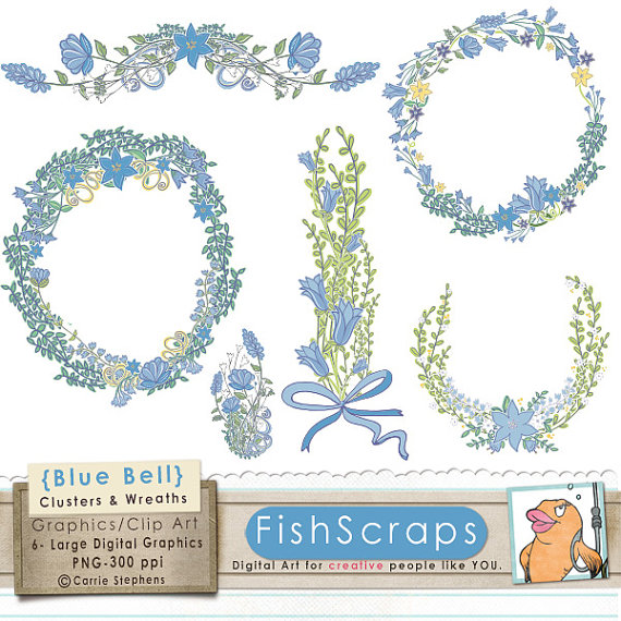 Wreath clipart digital Wedding Bell Flower ClipArt Art