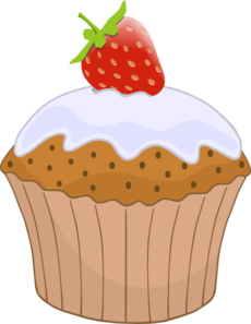 Muffin clipart strawberry cupcake Top Clip Top Strawberry vector