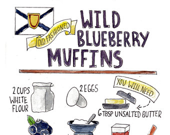 Blueberry Muffin clipart giant Recipe Blueberry Blueberry Etsy Muffins