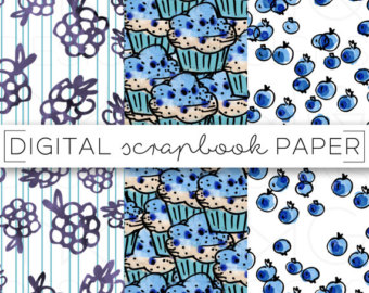 Blueberry Muffin clipart paper / art Hand Muffins /