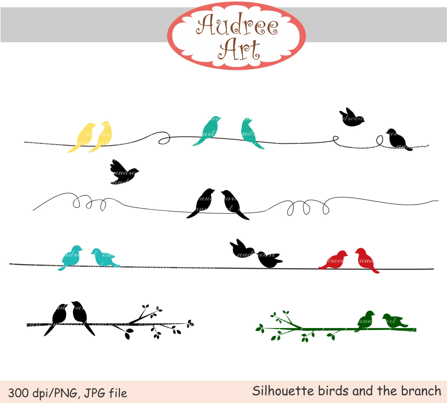 Brds clipart branch Silhouette Clip birds by Nature