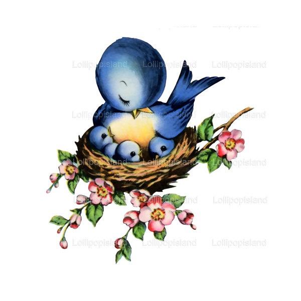 Bluebird clipart mother bird To  iron 50… $3