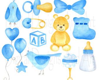 Teddy clipart baby blue Watercolor bear Bear clipart Blue