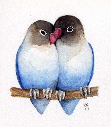 Blur clipart love bird Aquarelle watercolour Lovebirds 25+ Pinterest