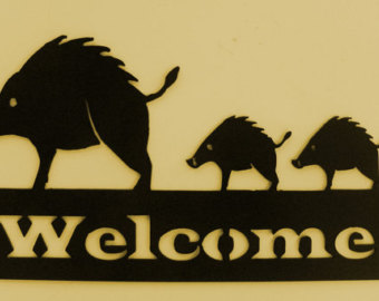 Boar clipart javelina Metal Cabin sign Home Javelina