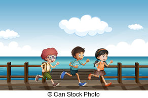 Boardwalk clipart fun Of kids bench running Clip