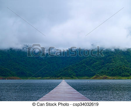 Boardwalk clipart lake Stock mountain Photography Misty over