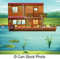 Boat House clipart Floating and Boat a on