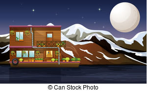 Boat House clipart Wooden Illustration A boathouse Vectors