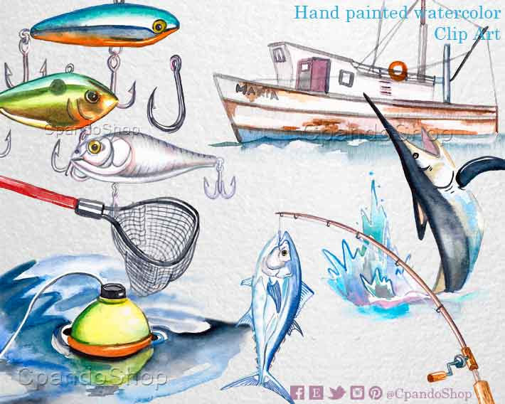 Boat House clipart saltwater fishing Illustration clipart Fishing Etsy clip