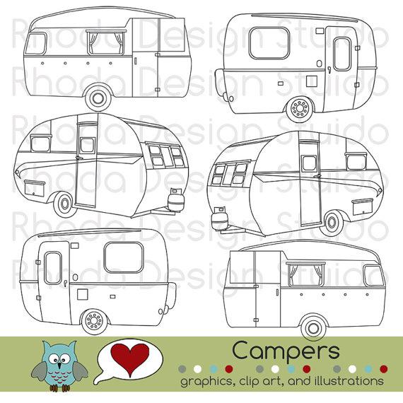 Camper clipart painted vintage  Campers Vintage Camp Clip