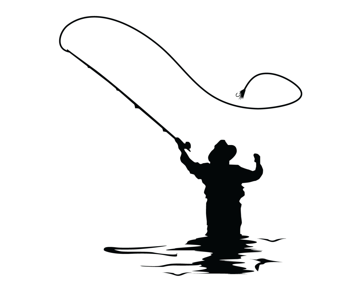 Fisherman clipart silhouette Boat file fly Popular svg