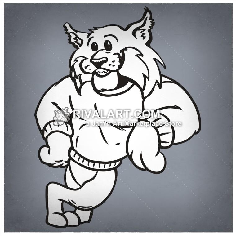 Bobcat clipart friendly T shirt School Tigers Leaning