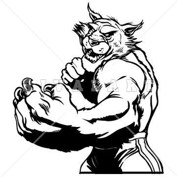 Bobcat clipart mascot Mascot Graphic Black Clip White