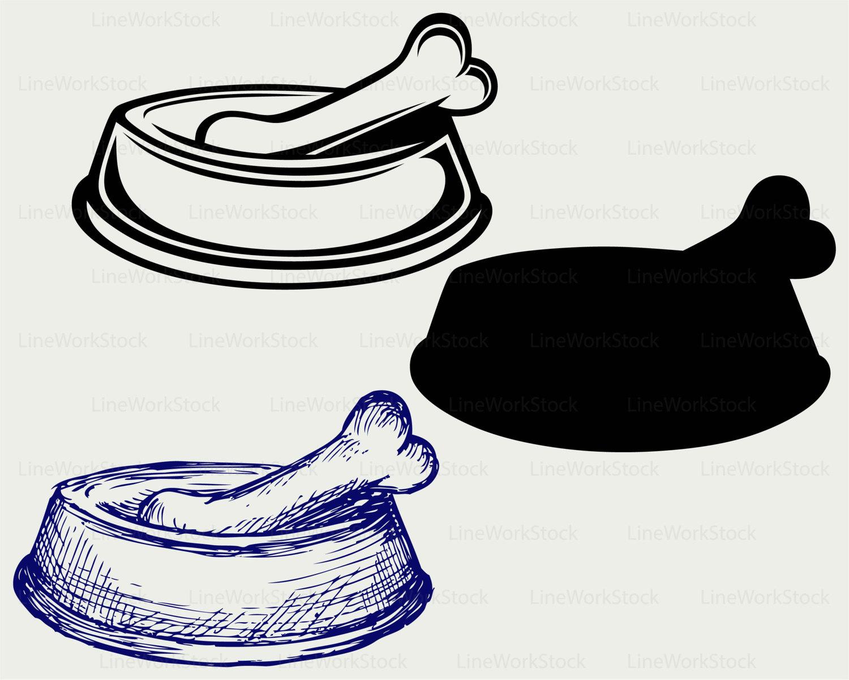 Bones clipart dog dish  is silhouette dog svg