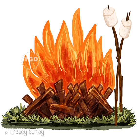 Campire clipart colored Camping and clip roasting Art