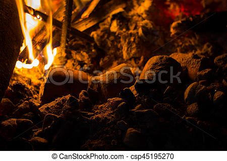 Bonfire clipart campfire cooking Campfire camping Stock food in