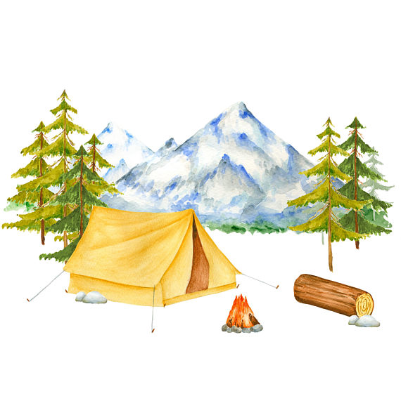 Bonfire clipart fir And camping clipart This Watercolor